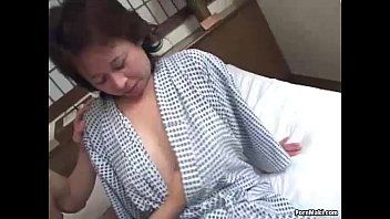 Oriental granny enjoys trio banging