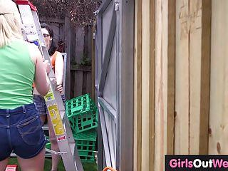 Hirsute lesbo tradies peeing and orall-service sex