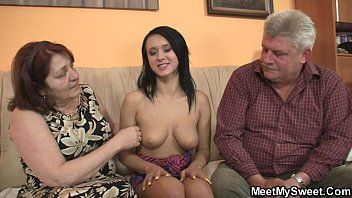 Wicked angel pumping with her bfs old parents